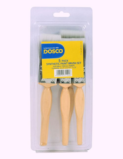 "Group of 5 wooden-handled paint brushes with grey synthetic bristles - two 1"", two 1 1/2"" and a 2"" brush included"