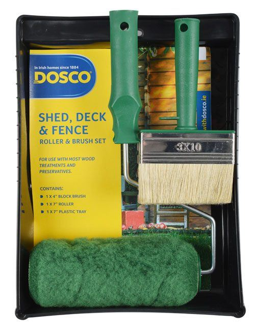 A green-handled block paint brush and paint roller, with long-pile sleeve and paint tray in Dosco blue & yellow packaging