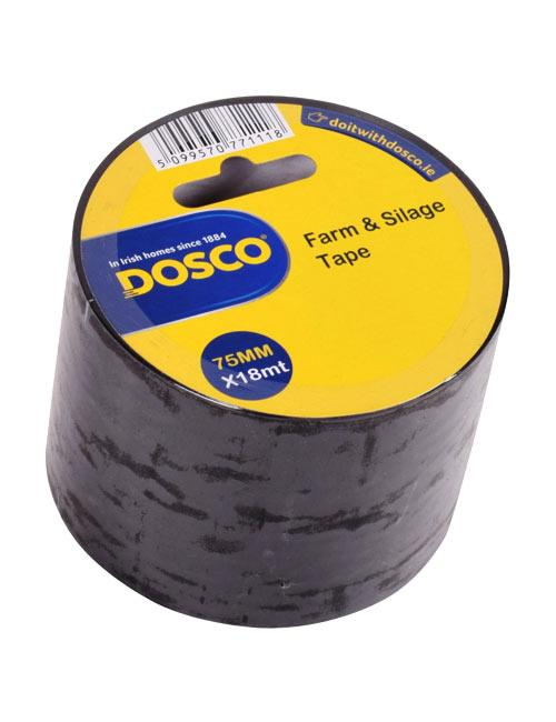 A roll of black adhesive tape in Dosco blue & yellow packaging