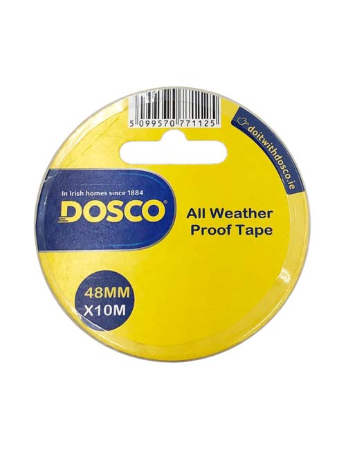 A roll of light grey all weather proof adhesive tape in Dosco yellow & blue packaging