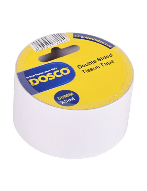 A roll of white adhesive tissue tape in Dosco blue & yellow packaging