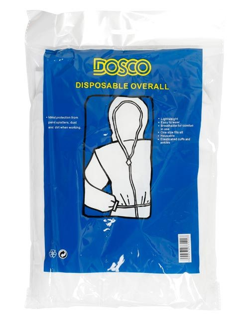 A folded disposable white overalls wrapped in clear and blue packaging