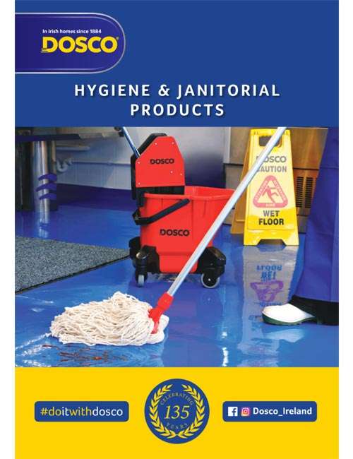 Dosco hygiene & janitorial products brochure cover page depicting the process of mopping a floor
